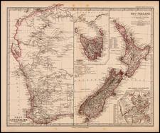 Australia & Oceania, Australia and New Zealand Map By Adolf Stieler
