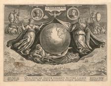 World, Western Hemisphere, Atlantic Ocean, North America, Caribbean, South America, Europe, Italy, Curiosities and America Map By Joannes Stradanus