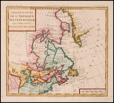 New England, Midwest and Canada Map By Louis Brion de la Tour