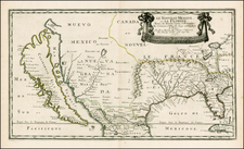 Florida, Southeast, Texas, Midwest, Southwest and California Map By Nicolas Sanson