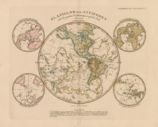 World, World, Eastern Hemisphere, Western Hemisphere, Northern Hemisphere, Southern Hemisphere, Polar Maps, South America, Curiosities and America Map By Adolf Stieler