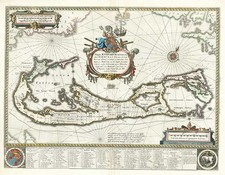 World, Atlantic Ocean and Caribbean Map By Willem Janszoon Blaeu