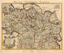 Asia, China, Central Asia & Caucasus and Russia in Asia Map By Johannes Covens  &  Cornelis Mortier
