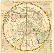 World, Polar Maps, Australia & Oceania, Australia and Oceania Map By Jacques Nicolas Bellin