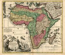 Africa and Africa Map By Matthaus Seutter