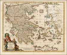 Europe, Balearic Islands and Greece Map By Peter Schenk / Nicolaes Visscher I