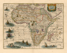 Africa and Africa Map By Henricus Hondius / Jan Jansson