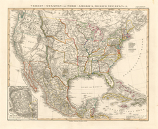 United States, Texas and Mexico Map By Adolf Stieler
