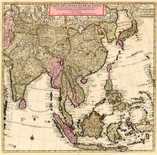 Asia, China, Japan, Korea, India, Southeast Asia, Philippines, Central Asia & Caucasus and Russia in Asia Map By Johannes Covens  &  Cornelis Mortier