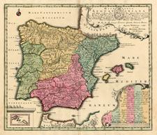 Atlantic Ocean, Spain, Portugal and Balearic Islands Map By Matthaus Seutter