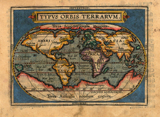 World and World Map By Abraham Ortelius / Johannes Baptista Vrients