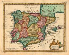Europe, Spain and Portugal Map By Joseph De La Porte