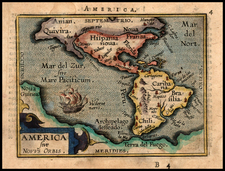 World, Western Hemisphere, South America and America Map By Abraham Ortelius / Johannes Baptista Vrients