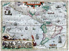 North America, South America and America Map By Jodocus Hondius