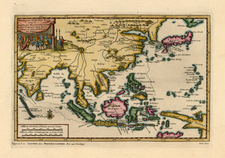 Asia, China, Japan, Korea, India, Southeast Asia and Central Asia & Caucasus Map By Pieter van der Aa