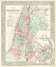 Asia, Middle East and Holy Land Map By Samuel Augustus Mitchell Jr.