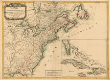 United States, New England, Mid-Atlantic and North America Map By J.B. Eliot