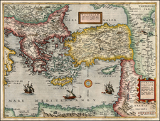 Europe, Balkans, Greece, Mediterranean, Balearic Islands, Asia, Central Asia & Caucasus, Holy Land and Turkey & Asia Minor Map By Cornelis de Jode