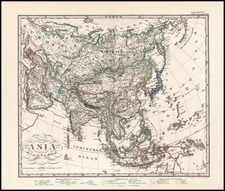 Asia and Asia Map By Adolf Stieler
