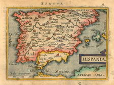 Spain and Portugal Map By Abraham Ortelius / Johannes Baptista Vrients