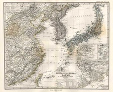 Asia, China, Japan and Korea Map By Adolf Stieler