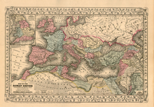 Europe, Europe, Italy, Mediterranean and Africa Map By Samuel Augustus Mitchell