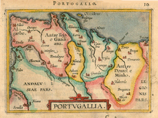 Europe and Portugal Map By Abraham Ortelius / Johannes Baptista Vrients