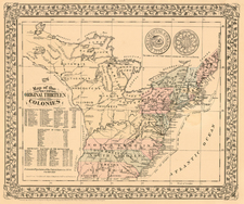 United States Map By Samuel Augustus Mitchell Jr.