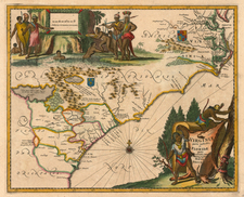 Mid-Atlantic and Southeast Map By John Ogilby / Arnoldus Montanus