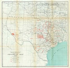 Texas Map By Julius Bien / E.T. Dumble