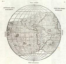 World, Western Hemisphere, Polar Maps, South America and America Map By Giovanni Battista Ramusio