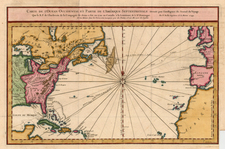 World, Atlantic Ocean and North America Map By Jacques Nicolas Bellin