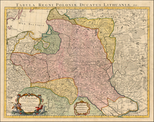 Europe, Poland, Russia, Ukraine and Baltic Countries Map By Johannes Covens  &  Cornelis Mortier
