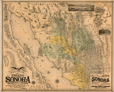 Southwest, Mexico, Baja California and California Map By Charles E. Herbert