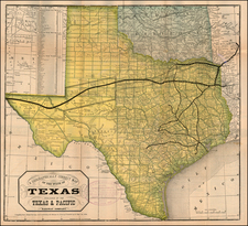 Texas Map By Texas & Pacific Railway Company / Woodward, Tiernan & Hale