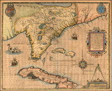 South, Southeast, Midwest and Caribbean Map By Jacques Le Moyne