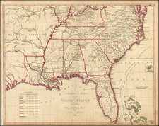 Florida, South, Southeast, Texas, Midwest and Plains Map By John Melish / Axel Klinckowstrom