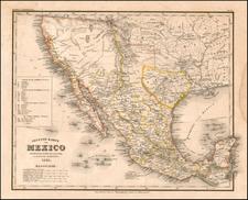 Texas, Southwest, Mexico and California Map By Joseph Meyer / Carl Radefeld