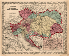Europe, Austria, Hungary, Czech Republic & Slovakia and Balkans Map By Joseph Hutchins Colton