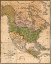Southwest, Rocky Mountains and North America Map By Samuel Augustus Mitchell