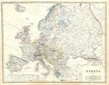 Europe and Europe Map By W. & A.K. Johnston