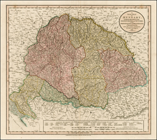 Hungary, Romania, Czech Republic & Slovakia and Balkans Map By John Cary