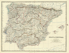 Europe, Spain and Portugal Map By W. & A.K. Johnston