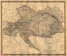 Austria, Poland, Hungary, Czech Republic & Slovakia and Balkans Map By W. & A.K. Johnston