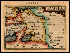 Poland, Russia, Ukraine and Baltic Countries Map By Abraham Ortelius / Johannes Baptista Vrients
