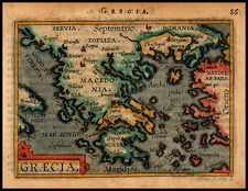 Greece Map By Abraham Ortelius / Johannes Baptista Vrients