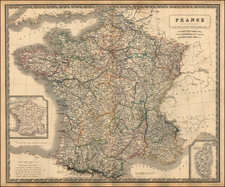 France Map By W. & A.K. Johnston