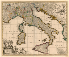 Europe, Italy and Balearic Islands Map By Peter Schenk / Nicolaes Visscher I