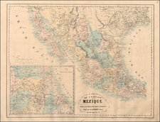 Texas, Southwest, Mexico and Baja California Map By Auguste Logerot