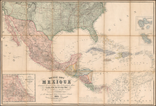 South, Southeast, Texas, Plains, Southwest, Rocky Mountains, Mexico, Baja California, Caribbean and Central America Map By Alexandre Vuillemin